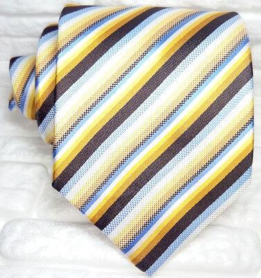 Affidabile Cravatta Uomo Righe Seta Made In Italy Marrone Bianca Grigia Gialla Business Funzionalità Eccezionali