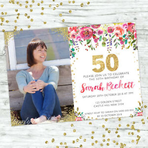 Image Is Loading 50TH BIRTHDAY INVITATIONS PARTY SUPPLIES GOLD PERSONALISED INVITE