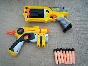 2-NERF-GUNS-MAVERICK-REV-6-amp-FIRESTRIKE-WITH-LASER-SIGHT-amp-7-BULLETS