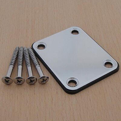 Chrome Electric Guitar Neck Plate Neckplate w/ 4 Mounting Screws High Quality