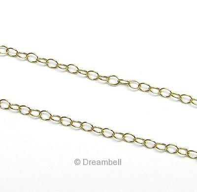 "12"" x 14K Gold filled Bead OVAL RING Cable Chain 2.2mm Dreambell"