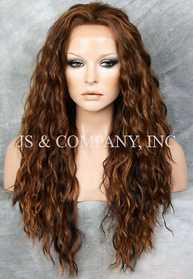 Brown Blond Auburn HEAT SAFE Lace Front Wig Wispy Wavy Long Layered NGFT 4/27/30