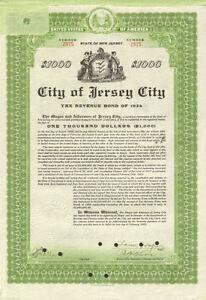 Jersey City revenue bond certificate > Mayor Frank Hague signature autograph