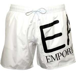 f8c8d3c284 Emporio Armani EA7 Large Logo Men's Swim Shorts, White with black | eBay