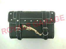 CUSTOMIZED ROYAL ENFIELD HARLEY TRIUMPH  BLACK TOOL BAG WITH JAGUAR BADGE