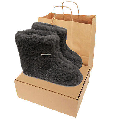 Ladies Men/'s 100/% Sheep Wool Boots Sheepskin Slippers Real Leather Sole with Box