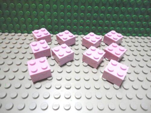 Lego 10 Bright Pink 2x2 brick block NEW