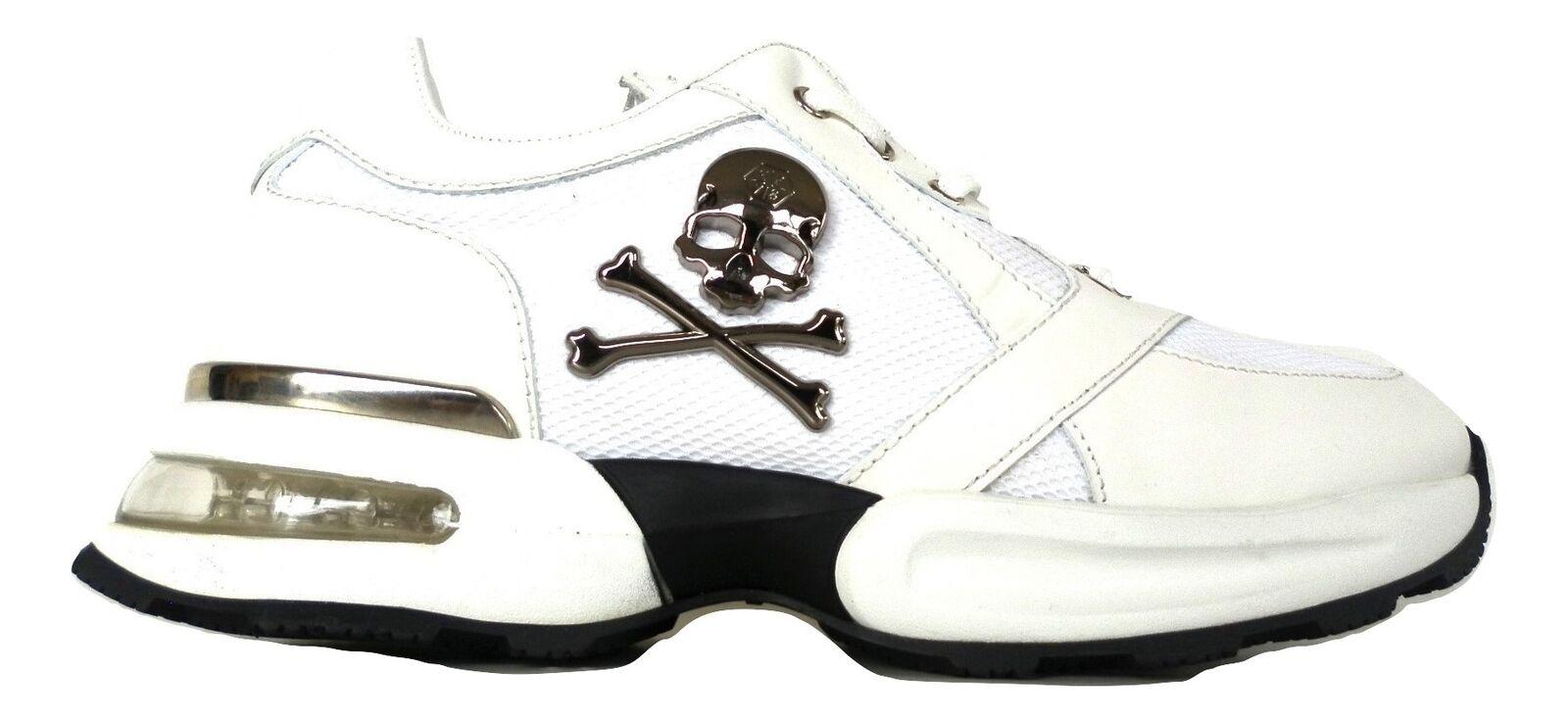 Philipp Plein scarpe uomo scarpe da ginnastica  runner skull A18SMSC1672PCO026N BIANCO