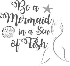 Custom Vinyl Car Decal Be A Mermaid In A Sea Of Fish Starfish - Mermaid custom vinyl decals for car