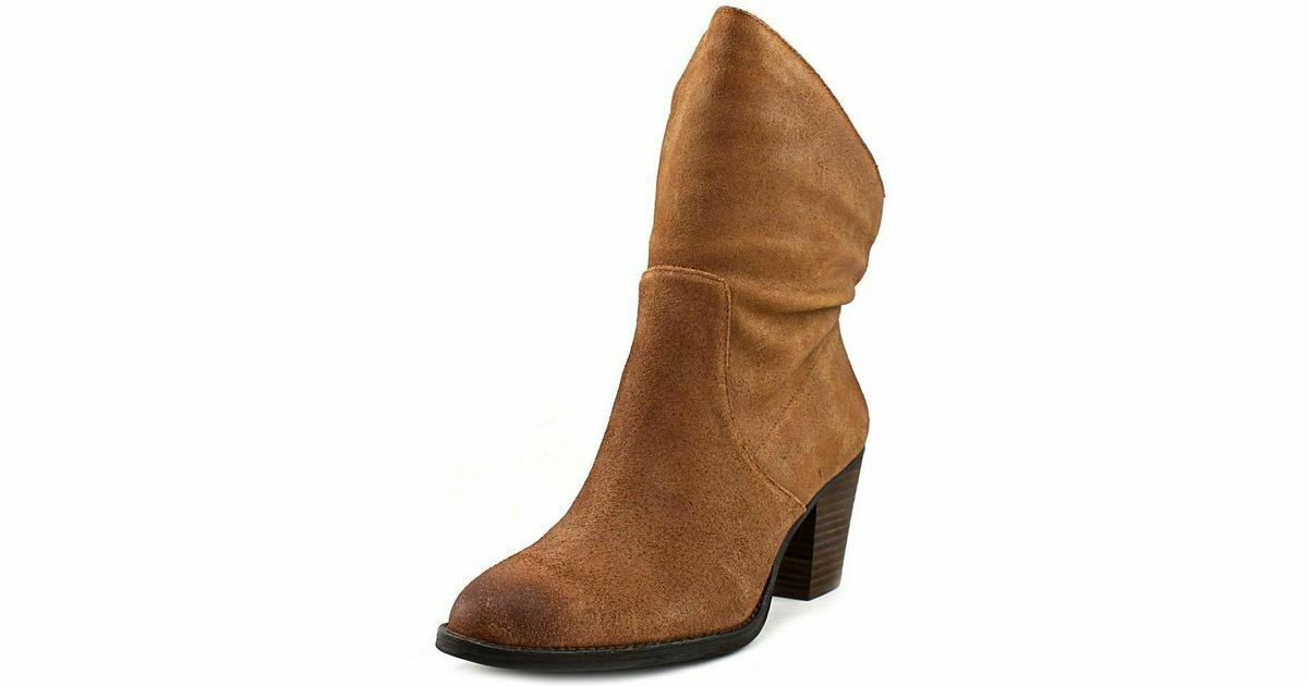 Nine West Fraisse Ankle avvioies Suede Cognac Tan Marronee Stacked Block Heel 6 M