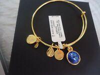Alex And Ani September Birthstone Sapphire Gold Charm Bangle W/ Tag Card & Box