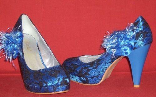 Hauts Blau Talons Satin Top Chic Dentelle 37 Gr Neuf Bridal Bezogene B664PqX