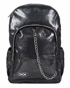CHOK-GLITTER-GREY-REFLECTIVE-BACKPACK-RUCKSACK-Rave-Unisex-School-College-Bag