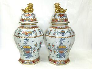 Internationale Antiq. & Kunst Warnen Xxl Zwei Große Deckelvasen China Um 1800 Vase Drache Elegantes Und Robustes Paket