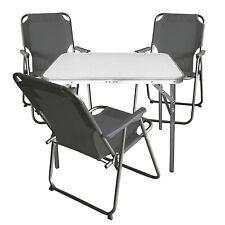Campingmöbel Balkonmöbel Set Garnitur Aluminium Klapptisch + 3x Klappstuhl Stone