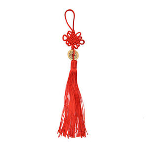 Chinese Feng Shui Protection Fortune Lucky Charm Red Tassel String Tied Coins S6