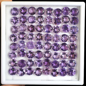 64-Pcs-8-5mm-9mm-Natural-Amethyst-Brazil-Round-Cut-Rich-Purple-Lusturous-Gems