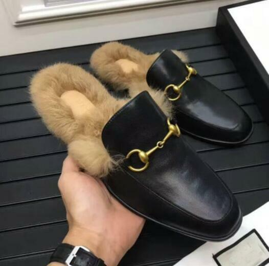 Mens Loafers Slippers Embroidery shoes Rabbit Fur Real Leather Slip On Mules