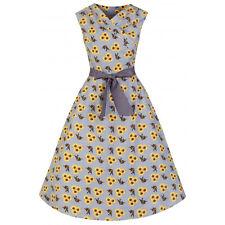 Lindy Bop Retro Vintage 40s Stephanie Sunflower bird cotton  flared dress 26