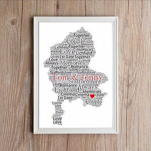 Personalised map of love staffordshire word art print wedding image is loading personalised map of love staffordshire word art print gumiabroncs Images
