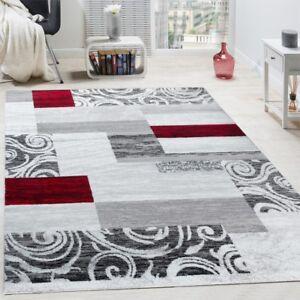 tapis de cr ateur contemporain avec swirl et carreaux marbr marron roug gris ebay. Black Bedroom Furniture Sets. Home Design Ideas