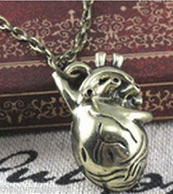 SILVER OR ANTIQUE BRONZE 3D ANATOMICAL HUMAN HEART PENDANT NECKLACE GOTHIC EMO