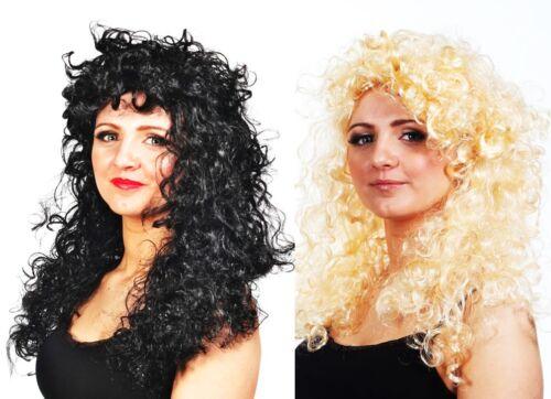 Curly Blonde Black Long Wig Pop Funky Fancy Dress Fun Rock Stylex Branded