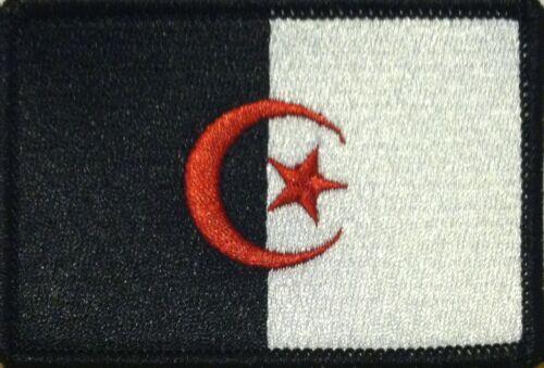 ALGERIA Flag Iron-On Tactical Patch Black /& White Version Black Border #61