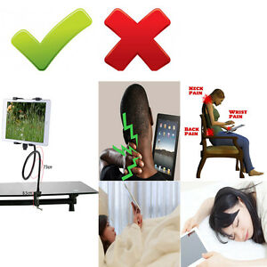 Flexible-Table-Desk-Gooseneck-iPad-Tablet-Handfree-Bolt-Clamp-Mount-Holder-Stand