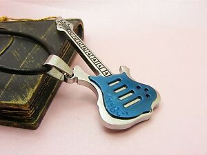 316L-STAINLESS-STEEL-Guitar-PENDANT-BONUS-Leather-Cord-or-Ball-Chain-NECKLACE