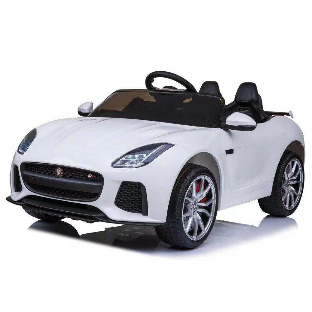 Auto Elettrica Bambini  Jaguar F-Type 12V Sedile Pelle MP3 USB Telecouomodo Bianco  designer online
