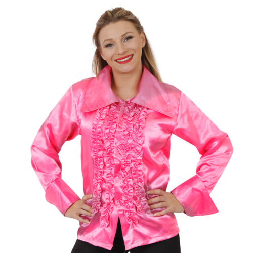 WOMENS 60s 70s DISCO RUFFLE SHIRTS ADULTS FANCY DRESS COSTUME FRILLY TOP