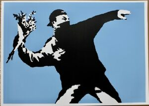 Banksy-screen-print-serigraph-Love-is-in-the-air-DELUXE-EDITION-blue