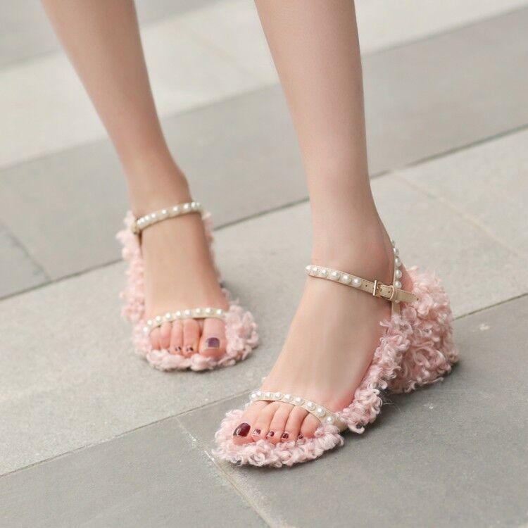 Womens Faux Fur Beaded Buckle Slingback Sandals Chunky Heels Peep Toe Pink shoes