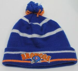 True Vintage Denver Broncos Beanie Knit Cap Pom Old Logo Sanders Harris Thomas