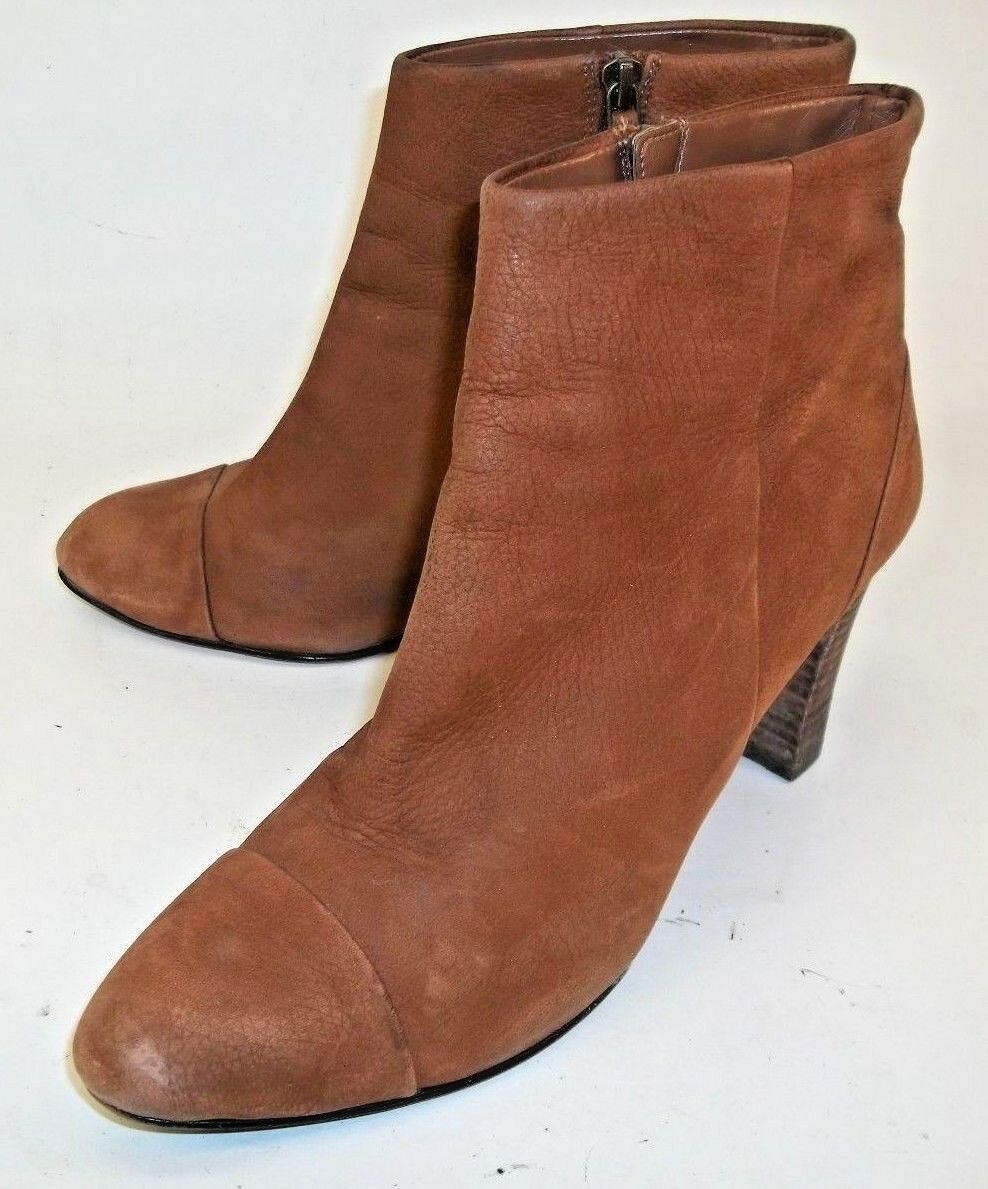 Cole Haan Womens Boots Ankle US9B Brown Leather Zip Heels Cap Toe Leather Soles