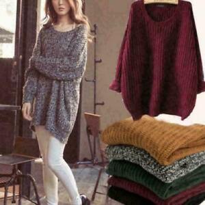 Knitwear-Women-039-s-Long-Sleeve-Loose-Pullover-Knitted-Sweaters-Outwear-Coat