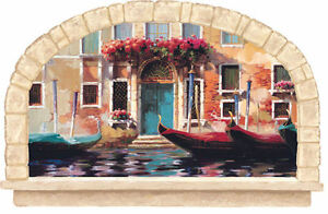 Venetian-Venice-Arch-Doorway-on-the-Water-with-Gondolas-Wallpaper-Mural-KK4923M