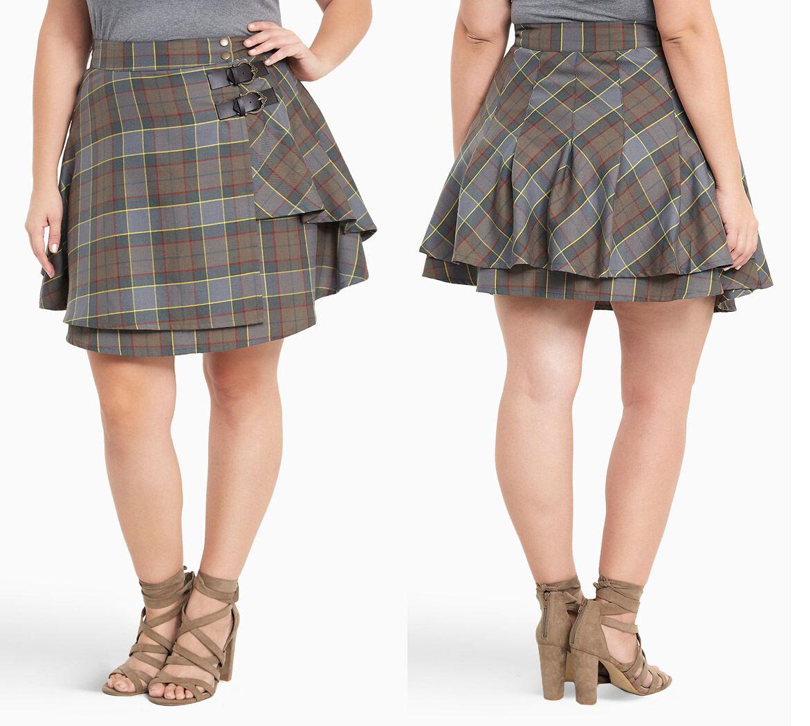 Torrid  Outlander  Claire Fraser Plaid Tartan Skirt Kilt Womens Plus Sizes 14-24