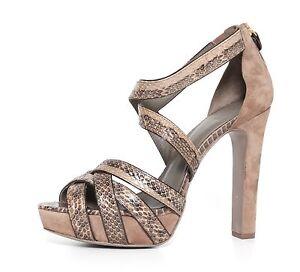 654b175825f Tory Burch Venice Women s Sanek Skin Suede Sandals Heels Black Gray ...