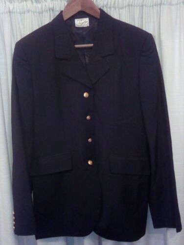 Ladies Royston Gold Button Black Riding showing jacket size 1438 70% wool