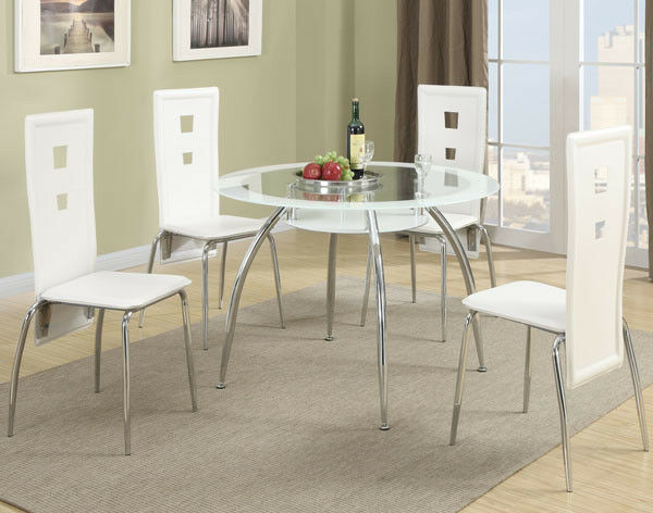 Poundex F2210 Round Metal Dining Table With Gl Top And White Trim