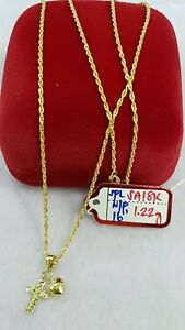 Gold-Authentic-18k-gold-necklace-with-pendant-16-inches-chain