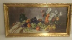 Home-Interior-Homco-large-fruit-picture-34-X-17-1-2-034-Gold-Wood-Frame
