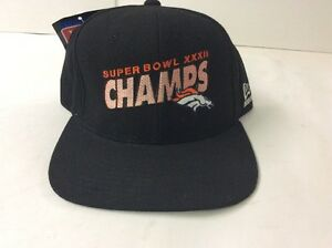 81684bcbd Denver Broncos Super Bowl XXXII 32 Champs Hat Black Orange Blue ...
