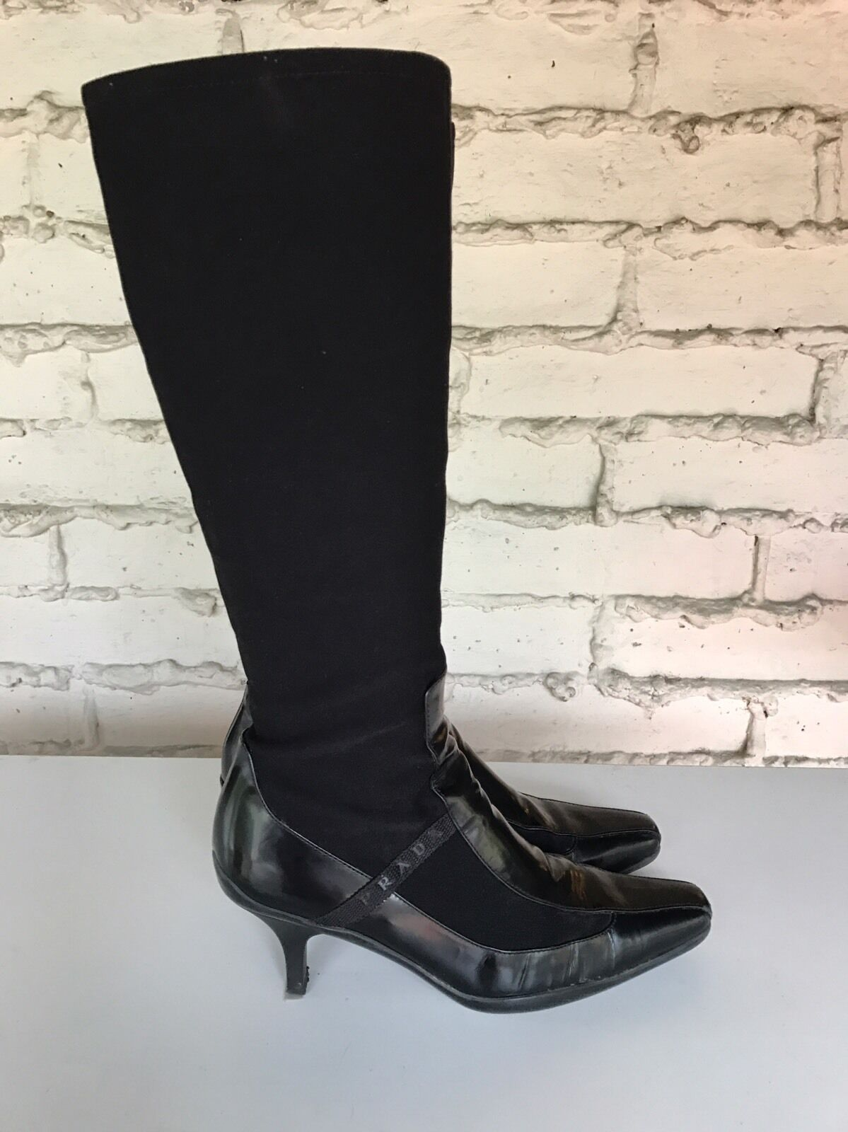 PRADA US 7 BLACK LEATHER AND CANVAS KNEE HIGH BOOTS