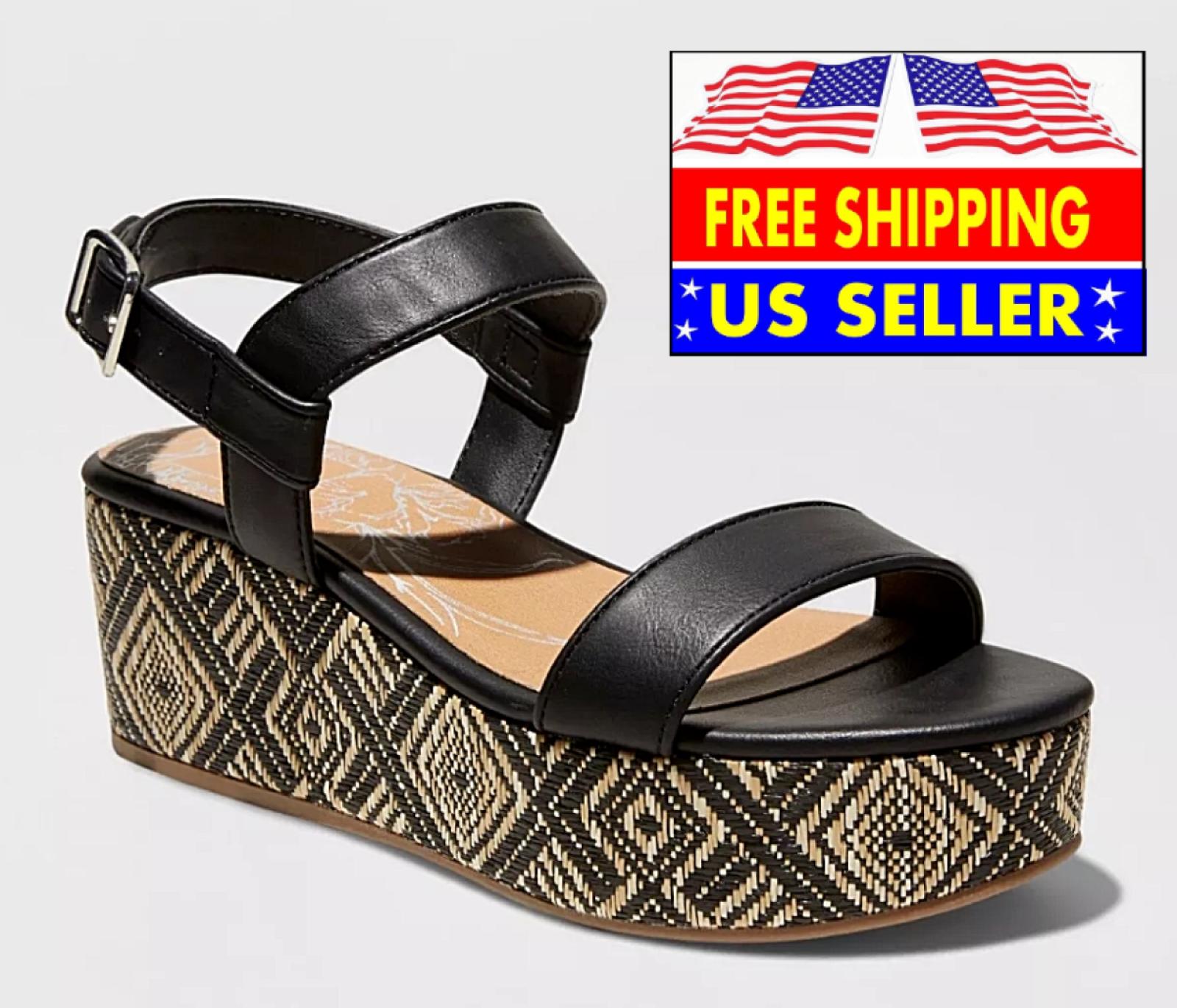 * DV Noir Brynn Compensé Talon Haut raphia Tribal Pattern Plateforme Sandale robe chaussure