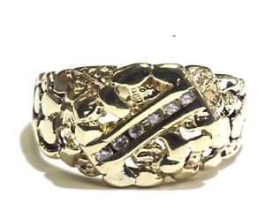 14k-yellow-gold-42ct-SI2-H-Nugget-diamond-cluster-mens-ring-band-10-3g-vintage