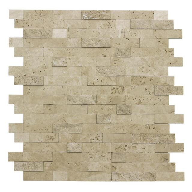 Peel And Stick Classic Linear Brown Stone Mosaic Tile Backsplash Kitchen  MTO0217