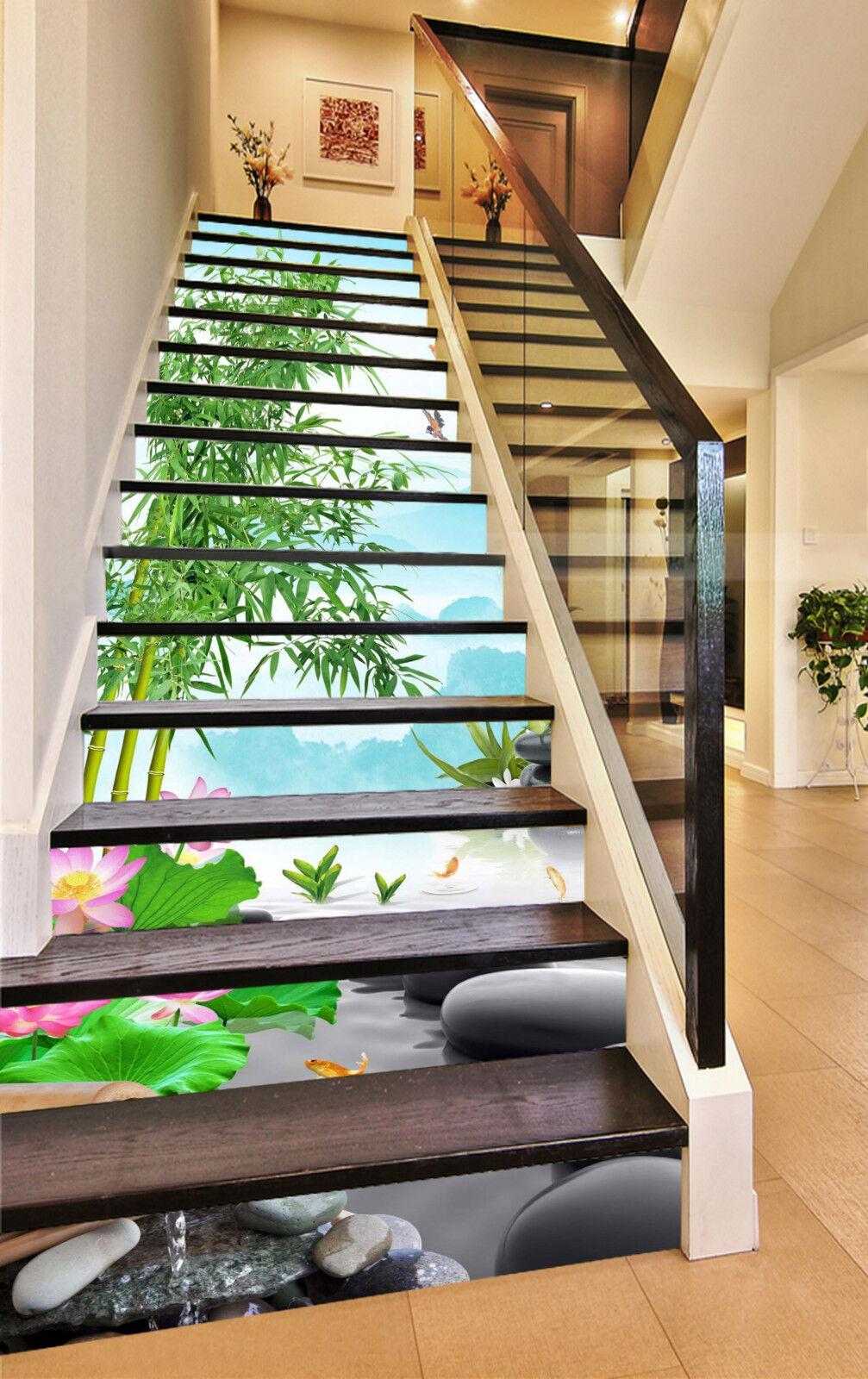 3D Bambus Lotus 353 Stair Risers Dekoration Fototapete Vinyl Aufkleber Tapete DE